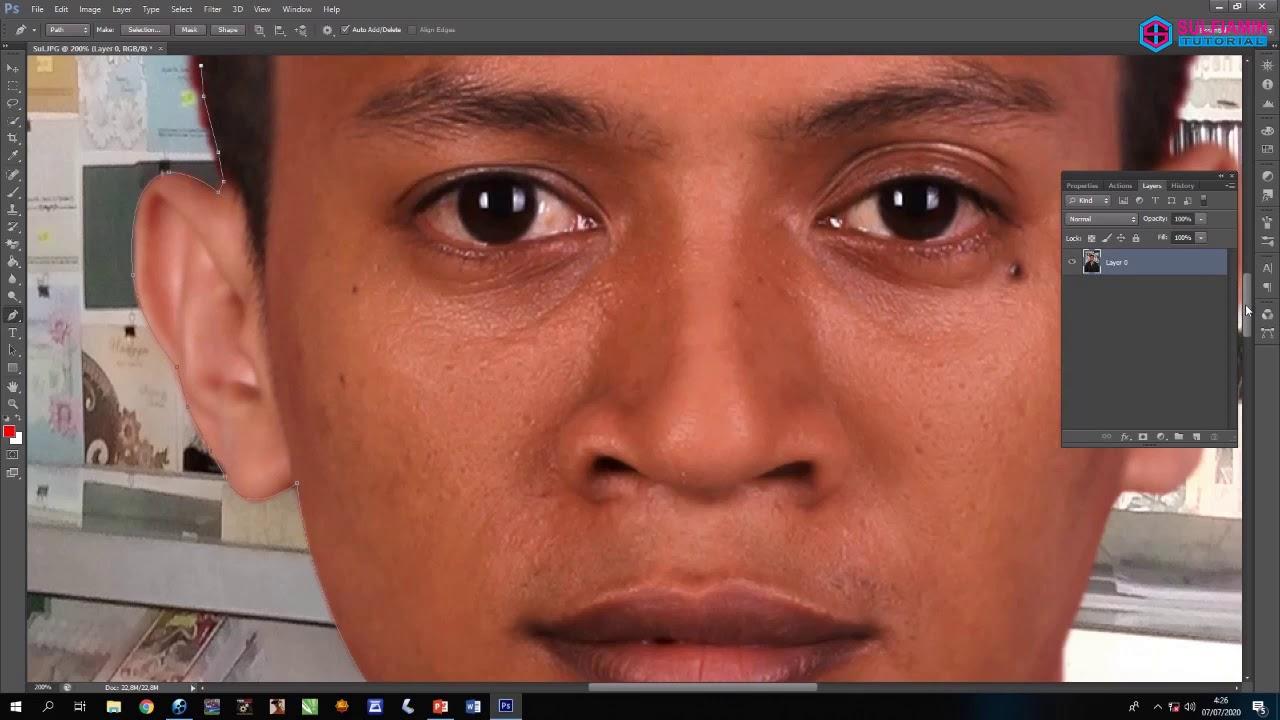 Cara edit dan ganti background pas foto di photoshop - YouTube