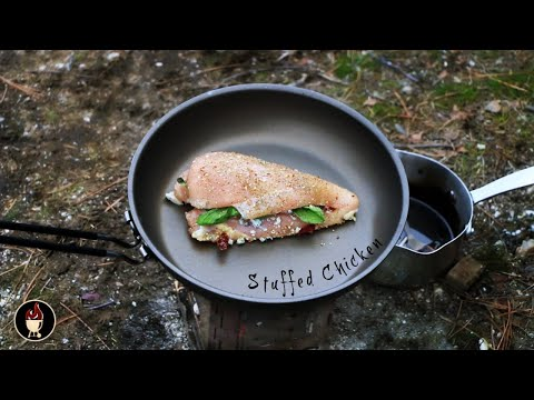cooking-chicken-on-the-firebox-stove- -stuffed-chicken-recipe- -hike-and-cook