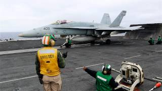 f a 18 takeoff from uss ronald reagan cvn 76