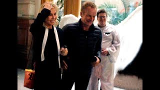 Sting with his wife leaves restaurant after live show in Moscow 3.10.2017
