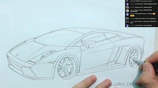 🔴 COMO DESENHAR CARROS: Lamborghini Gallardo passo a passo