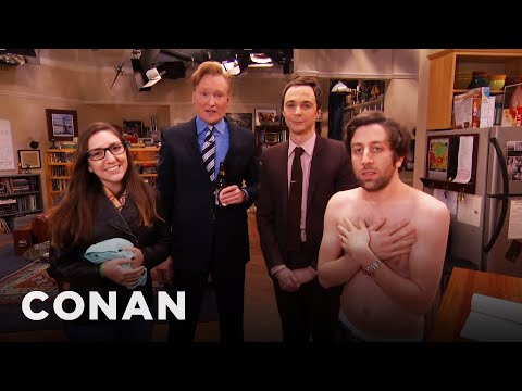 "Thumbnail: Jim Parsons & Conan Raid The ""Big Bang Theory"" Set With A Fan"