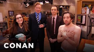 "Download Jim Parsons & Conan Raid The ""Big Bang Theory"" Set With A Fan Mp3 and Videos"