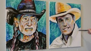 Painting Willie Nelson and George Strait with Acrylics on Canvas