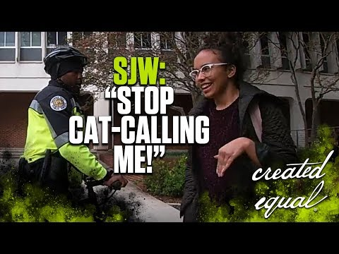 Feminist Knocks Over Sign -- Claims Cat-Calling When Confronted