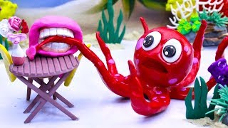 CLAY MIXER: OCTOPUS CAPTURING 💖 Play Doh Cartoons For Kids thumbnail
