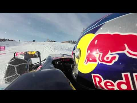 Onboard: Max Verstappen drives Red Bull F1 car on a ski slope