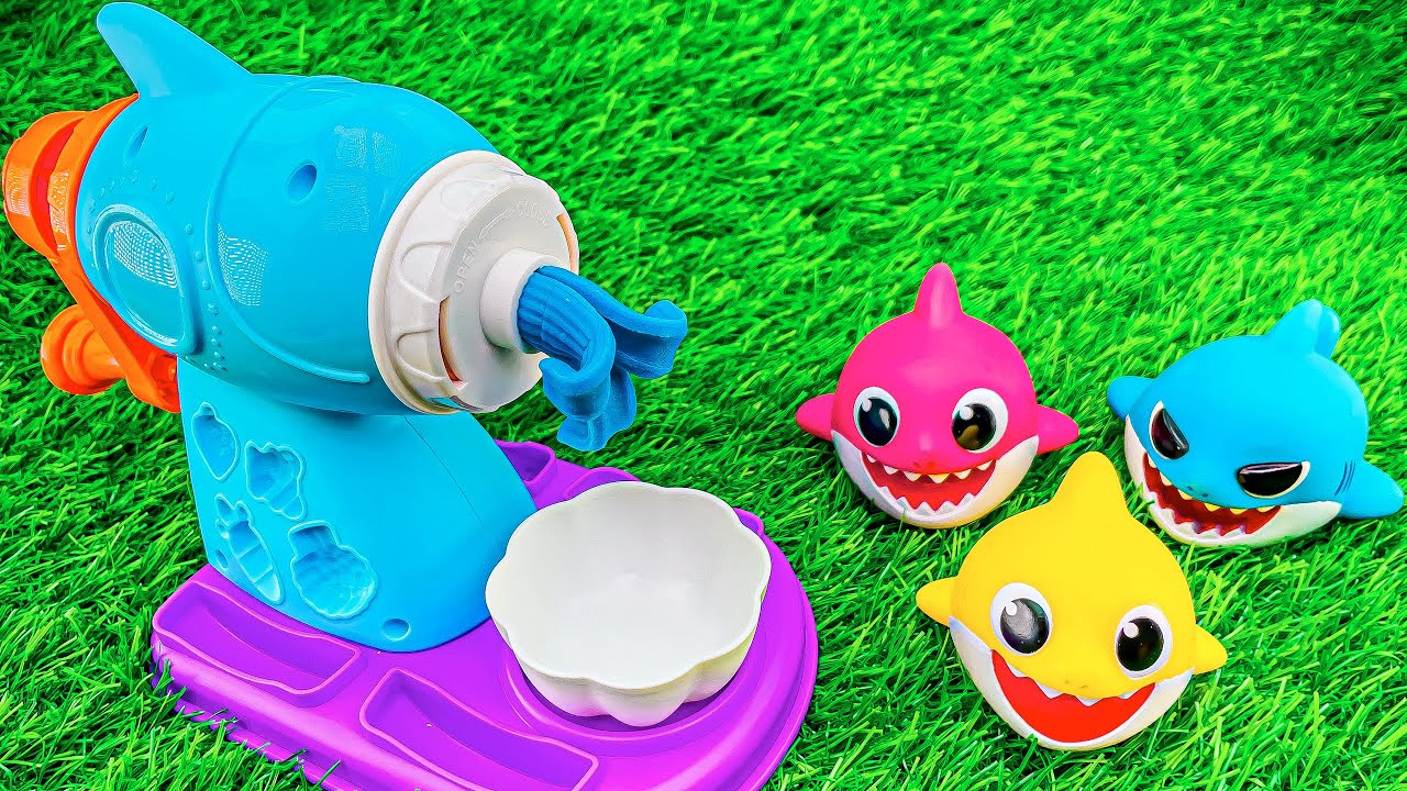 Very Satisfying Video l New Magic Playdoh Noddles with Color Shark Fish Cutting ASMR