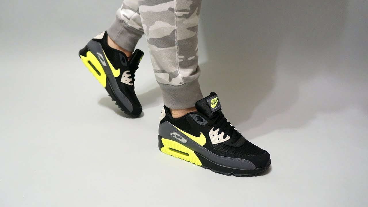 huge selection of 91633 c0a09 Nike Air Max 90 Essential Dark Grey Volt Black AJ1285-015 on feet