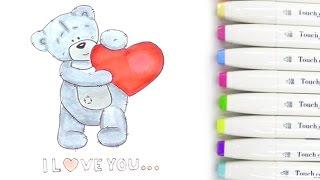 Как нарисовать мишку ТЕДДИ с сердечком на ДЕНЬ СВЯТОГО ВАЛЕНТИНА(Как легко и просто, а главное красиво нарисовать мишку Тедди! Как нарисовать рисунок на День Валентина...., 2016-01-15T19:14:37.000Z)