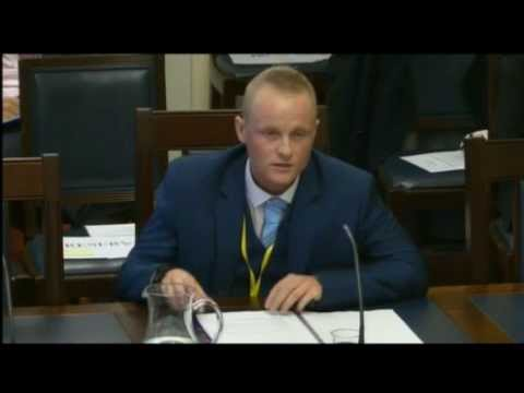 Jamie Bryson gives evidence to the NI Assembly's Finance Committee