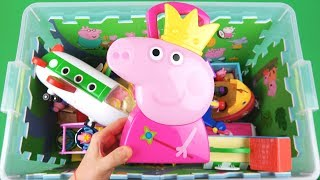 Learn Characters, Vehicles, Colors with Peppa Pig, Ben & Holly, McQueen in toys box for Kids