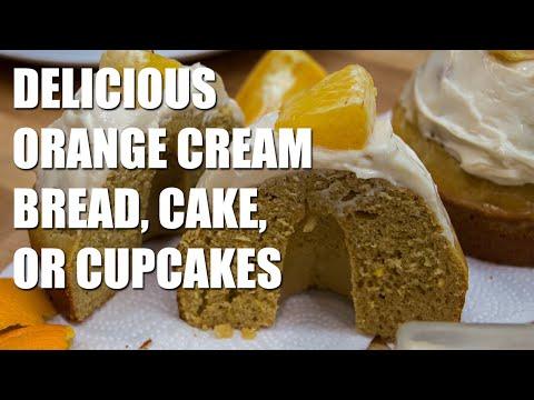 HEALTHY Orange Cream Bread, Cake, or Cupcakes