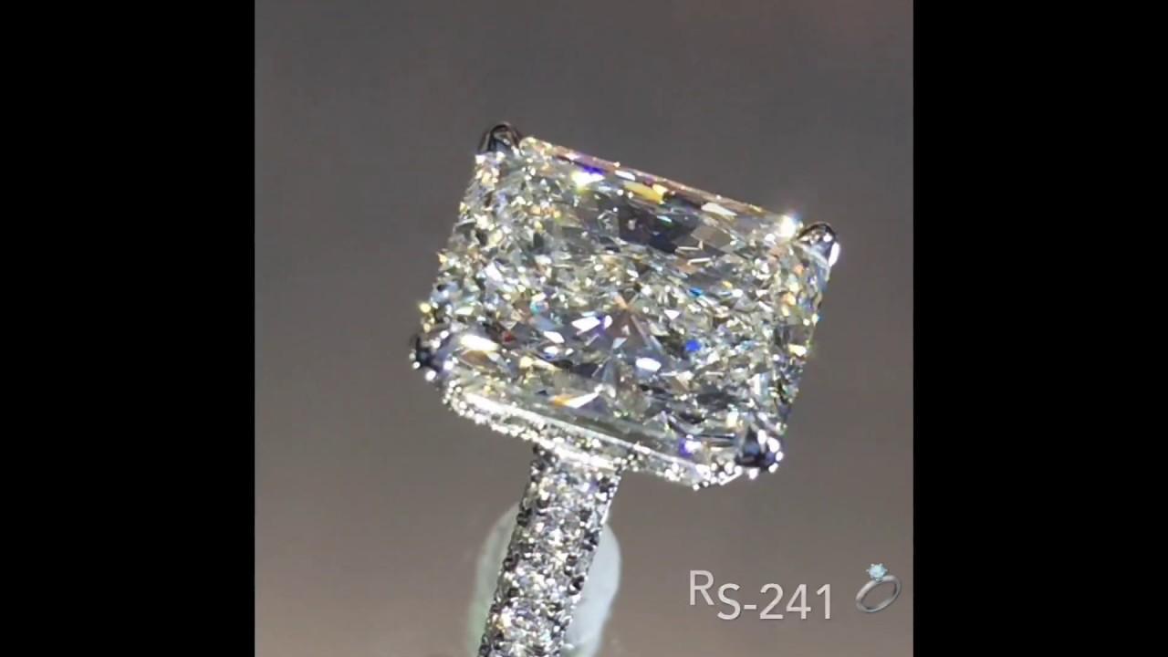 4.31 carat Radiant Diamond Three Row Engagement Ring