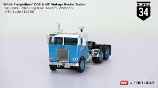 Dcp 1//64 Freightliner Coe Fallen Flag #34 Semi Tractor Trailer Truck Farm Toy