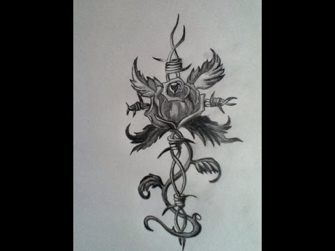 Rose Barbed Wire Tattoo Speed Drawing