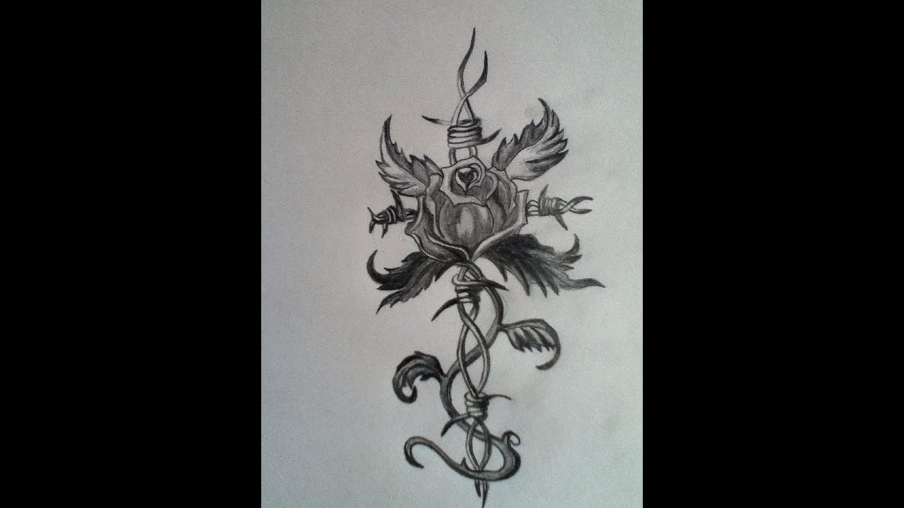 Barbed Wire Rose Tattoo: Rose Barbed Wire Tattoo Speed Drawing