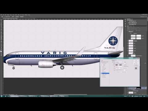 Boeing 737-700 Varig old livery painting in Photoshop (No Audio)