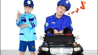 Senya Pretend Play a Policeman with Daddy a Thief.