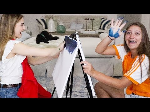 We tried FINGER PAINTING a Bob Ross tutorial!
