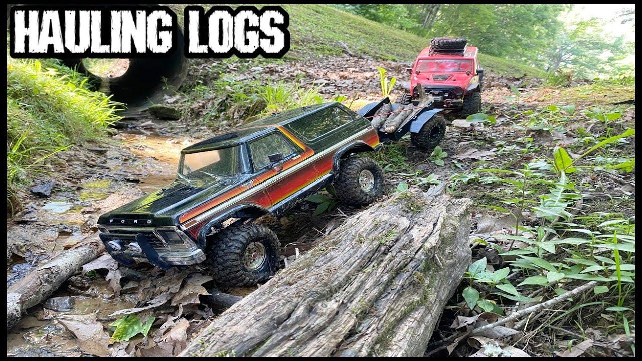 RC FORD BRONCO HAULING LOGS! - AXIAL SCX10ii JEEP RUBICON - TRAXXAS TRX4