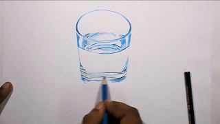 How to Draw a Glass of Water   Speed DRAWING