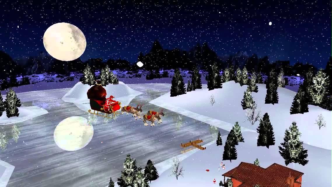 3d Xmas Live Wallpaper Xmas Santa Claus Sleigh Youtube