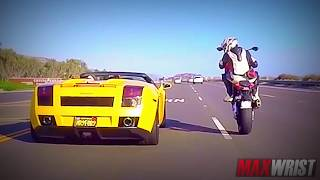 Millionaire Supercar Driver Destroyed by Super Bike Wheelie - Lamborghini Supercar vs Superbike BMW