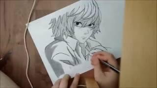 speed drawing Near (death note) (+nightcore theme)