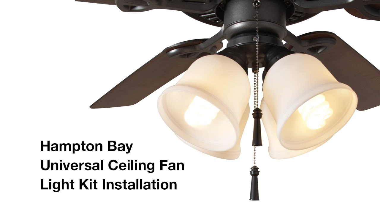 How To Install The Hampton Bay 4 Light Universal Ceiling Fan Light Kit Youtube