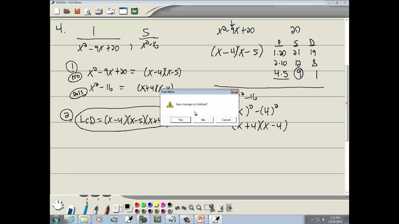 Elementary Algebra Finding The Least Common Denominator And Forming Equivalent Rational