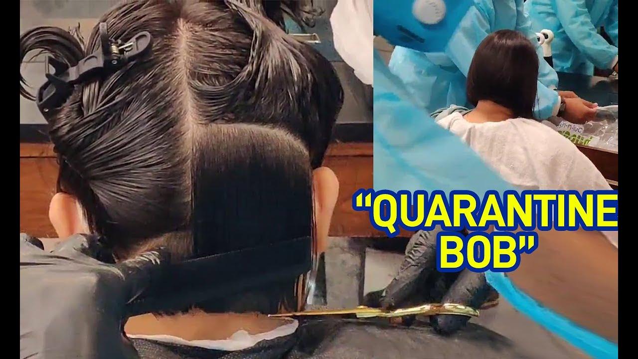 Wife gets a haircut during quarantine | Bob Haircut