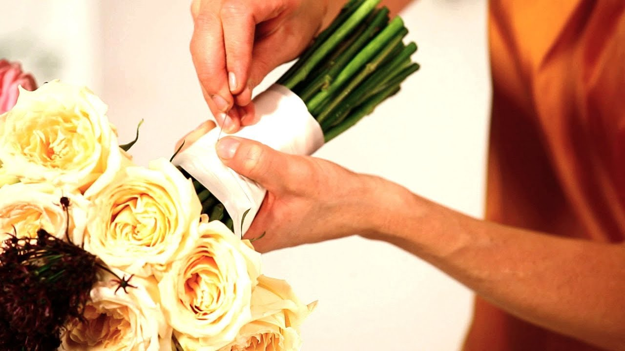 How to tie ribbon onto a floral bouquet wedding flowers youtube izmirmasajfo