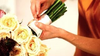 How to Tie Ribbon onto a Floral Bouquet | Wedding Flowers