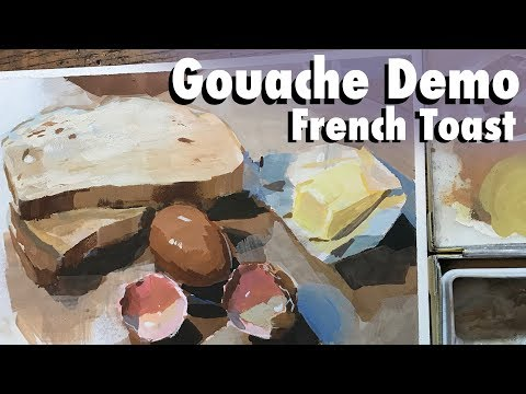 light-effects-on-surfaces:-french-toast-gouache-painting-demo