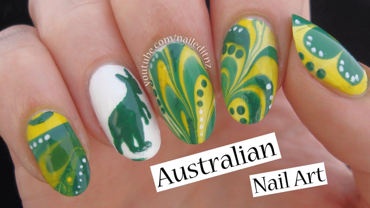Australian Nail Art Kangaroo Watermarble Youtube