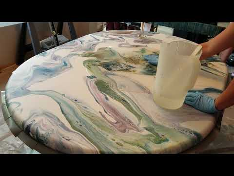 Applying RESIN to my parent's acrylic poured table