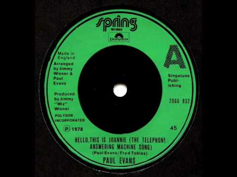 Paul Evans - Hello, This Is Joanie (The Telephone Answering Machine Song)