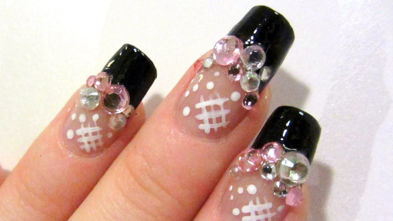 Japanese Style Rhinestone Design in Pink, Silver and Black Nail Art ...