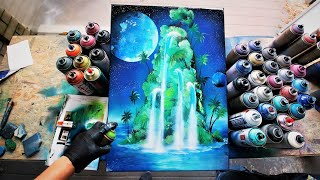 TROPICAL WATERFALLS - SPRAY PAINT ART by Skech