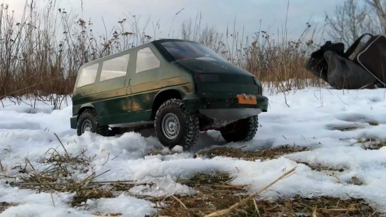 rc vw t4 syncro offroad crawling in the snow youtube
