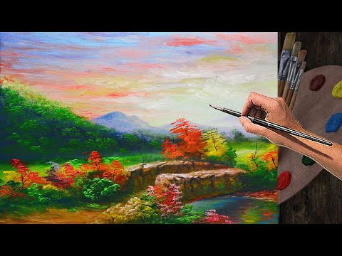 Basic Painting tutorial Landscape with Old Bridge and River during Sunset | ACRYLIC ART LESSON