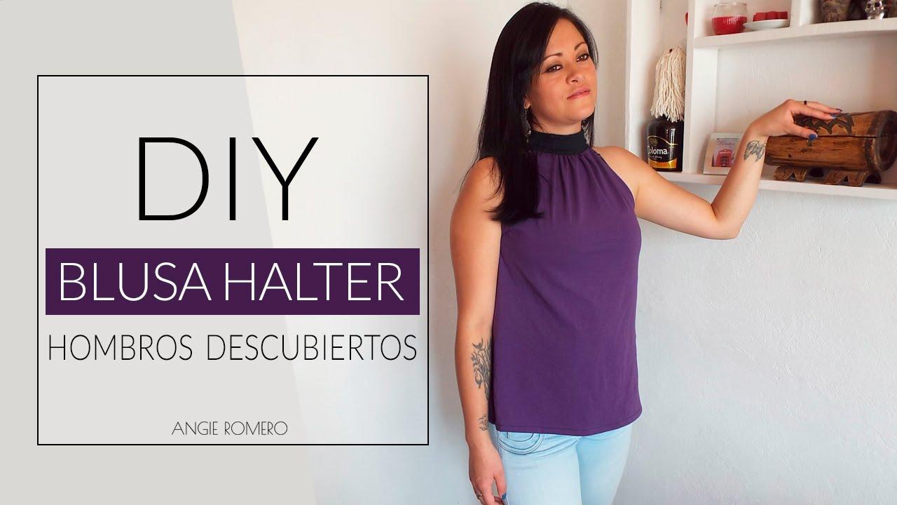 5b032877a DIY BLUSA DE CUELLO HALTER CON LAZO LARGO PARA ANUDAR sin moldes |  AngieRomeroDIY - YouTube