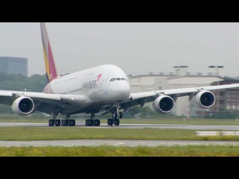 A380 - ASIANA Airlines - Close-ups, Take-off, Landing