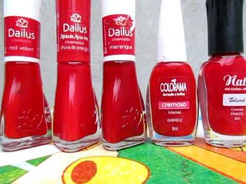 Top 5 Dos Meus Esmaltes Vermelhos Favoritos !!!Dailus/Colorama/Nati