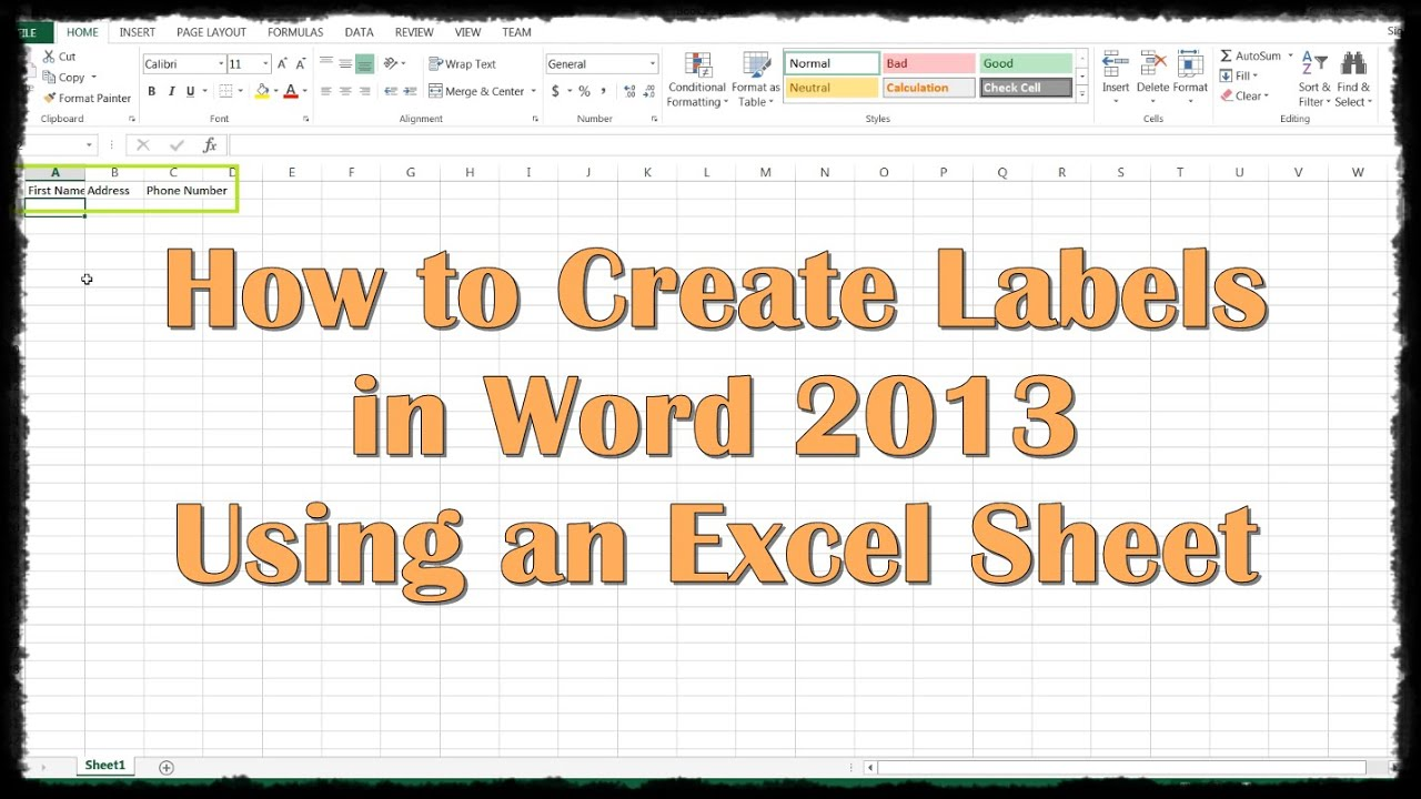 How To Create Labels In Word 2013 Using An Excel Sheet   YouTube  Format Labels In Word