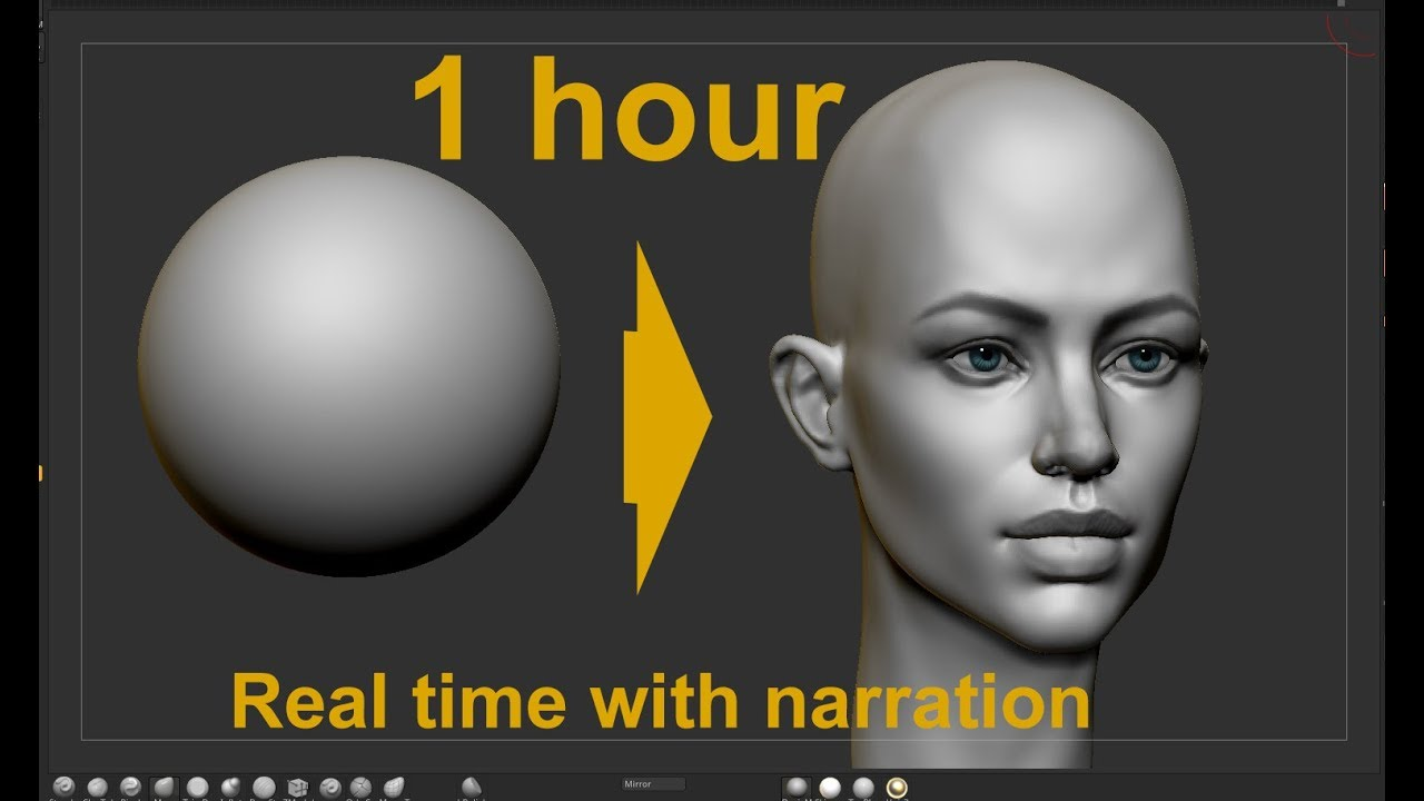 Download Female head from sphere in Zbrush  How to model and draw a female head with live narration