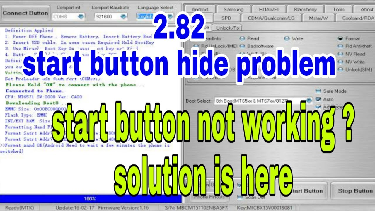 Miracle 2 82 Start button not working problem solution | miracle box 2 82  Start button hide problem