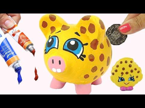 Shopkins KOOKY COOKIE PIGGY BANK Precious Paint DIY Craft Coins Kids Money Saving Project