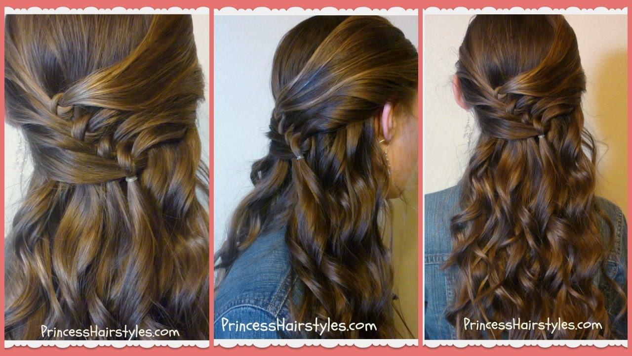 diagonal knots hairstyle tutorial, princess hairstyles
